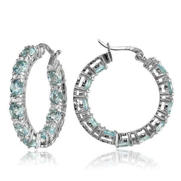 6d1788aadb388 Glitzy Rocks Sterling Silver Gemstone Round Hoop Earrings - Free ...