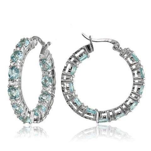 Glitzy Rocks Sterling Silver Gemstone Round Hoop Earrings