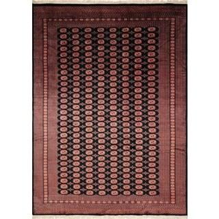 Fine Bokara Lazeez Black/Rose Wool Area Rug (9'3 x 12'3)