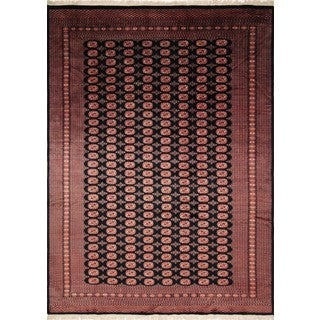Fine Bokara Lazeez Black/Rose Wool Area Rug (9'3 x 12'3)