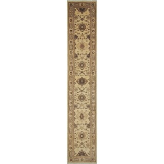 Peshawar Athazaz Ivory/Light Brown Wool Hand-knotted Rug (2'7 x 14'3)