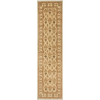 Peshawar Eric Ivory and Red Wool Area Rug (2'6x9'11)