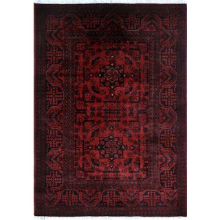 Khal Mohammadi Wajid Red/Black Wool Area Rug (3'4 x 4'10)