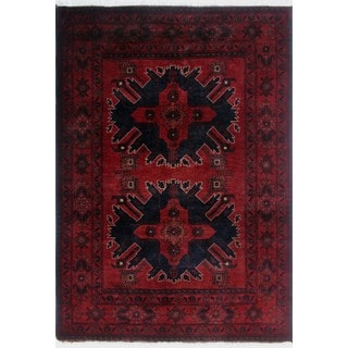 Khal Mohammadi Mannan Red/Black Wool Hand-knotted Rug (3'3 x 4'10)