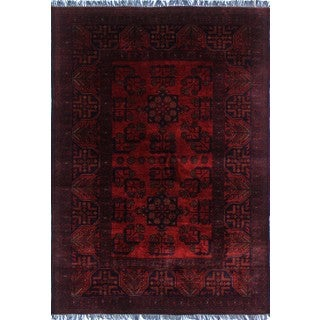 Khal Mohammadi Ayyash Red and Black Rug (3'4 x 4'9)