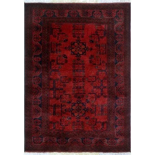Khal Mohammadi Ghafoor Red/ Black Area Rug (3'3 x 4'10)