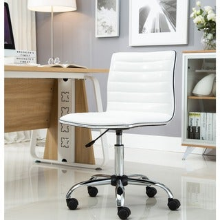 Porch & Den Beacon Hill Myrtle Swivel White Leather Office Chair