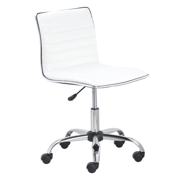 Swivel Mid Back Armless Ribbed Task Leather Upholstery Office