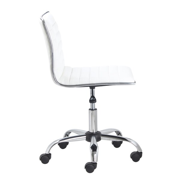 white unique office chairs. swivel mid back armless ribbed task leather upholstery office chair white free shipping today overstockcom 20660033 unique chairs