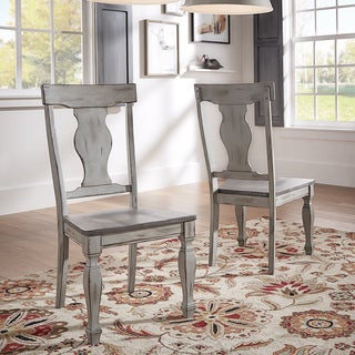Eleanor Grey Two Tone Square Turned Leg Wood Dining Chairs (Set Of 2)