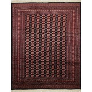 Fine Bokara Madni Black/Rust Wool Area Rug (9'3 x 11'7)