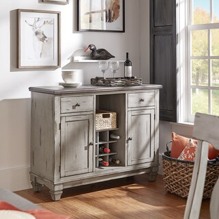 Eleanor Grey Two-Tone Wood Wine Rack Buffet Server by iNSPIRE Q Classic