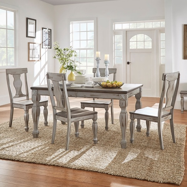 Eleanor Grey Two Tone Wood Butterfly Leaf Extending Dining Table By INSPIRE  Q Classic   Free Shipping Today   Overstock.com   20660049