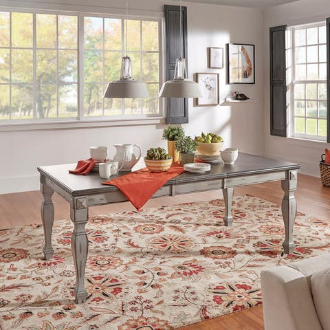 Eleanor Grey Two-Tone Wood Butterfly Leaf Extending Dining Table by iNSPIRE Q Classic