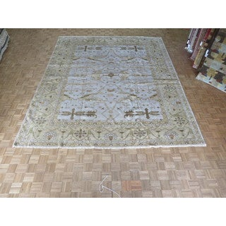 Hand Knotted Light Blue Oushak with Wool Oriental Rug (11'7 x 14'1)