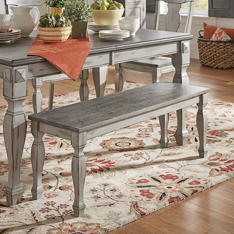 Eleanor Two-Tone Square Turned Leg Dining Bench by iNSPIRE Q Classic