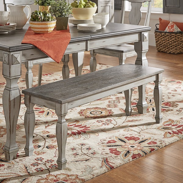 Dining Benches For Sale: Shop Eleanor Grey Two-Tone Square Turned Leg Wood Dining