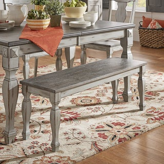 Eleanor Grey Two-Tone Square Turned Leg Wood Dining Bench by TRIBECCA HOME