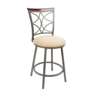 24-inch Decorative Back Swivel Barstool With Straight Legs