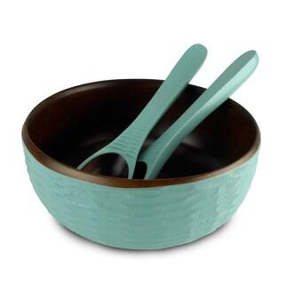 Handmade Turquoise Honeycomb Mango Salad Bowl Set (Thailand)