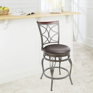 Espresso Steel/Wood 24-inch Decorative Back Curved-leg Barstool with Hourglass Seat Ring Accent