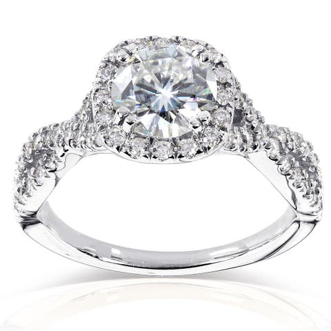 Annello by Kobelli 14k White Gold 1ct Moissanite (FG) and 1/2ct TDW Diamond (GH) Criss Cross Engagement Ring