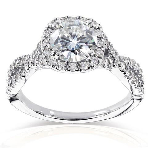 Annello by Kobelli 14k White Gold 1ct Moissanite (FG) and 1/2ct TDW Diamond (GH) Criss Cross Engagement Ring