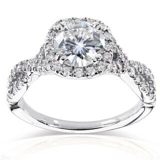 Annello 14k White Gold 1ct Forever Brilliant Moissanite and 1/2ct TDW Diamond Criss Cross Engagement Ring (GH, I1-I2)