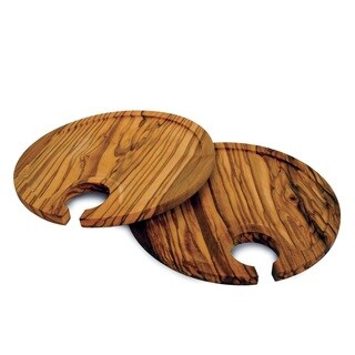 Handmade Set of 2 Olive Wood Appetizer Plates (China)