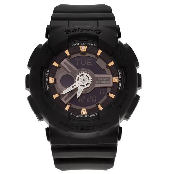 4e4cf2fd6 Casio Women's BA110GA-1A 'Baby-G' Black Analog Digital Dial Resin Strap  Watch
