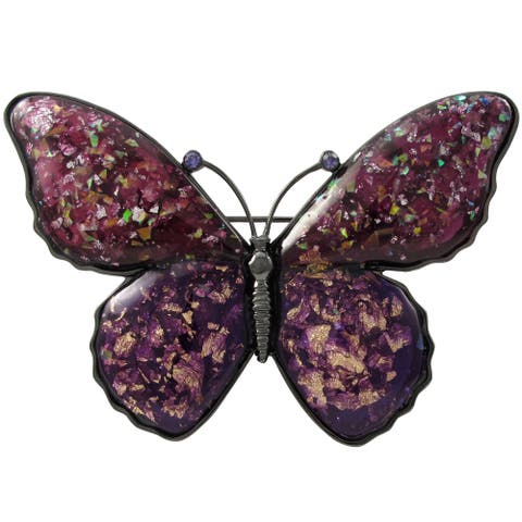 Luxiro Black Finish Purple Crystals Glitter Butterfly Pin Brooch - Pink