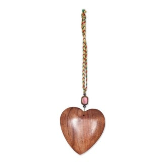 Set of 6 Handmade Sheesham Wood 'Hearts of Happiness' Ornaments (India)