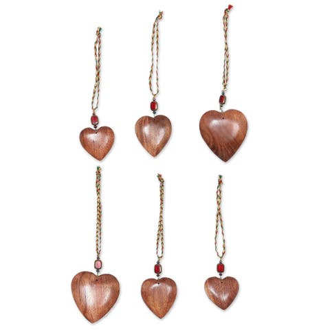 Handmade Heart of Happiness Ornament, Set of 6 (India)