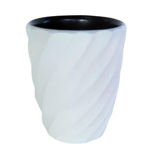 Handmade White Spiral Mango Utensil Vase (Thailand)