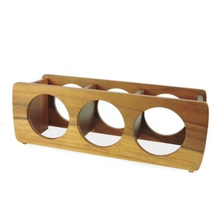 Handmade Acacia 3 Bottle Wine Rack (Thailand)