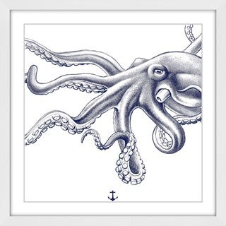Marmont Hill - 'Blue Octopus' Framed Painting Print