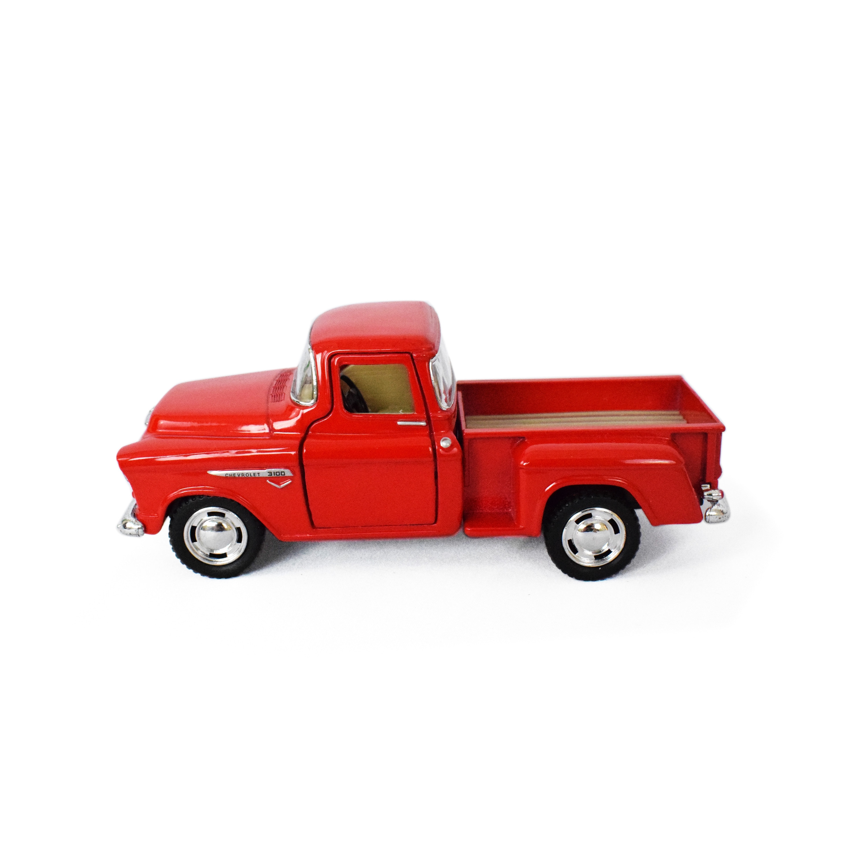 Kinsmart 1955 Chevy Stepside Pickup Diecast 1/32 Scale Collectible (Diecast 1955 Chevy Stepside Pickup- Red) (Metal)