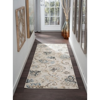 Alise Rugs Windsor Cream Floral Area Rug (2'7' x 7'3')
