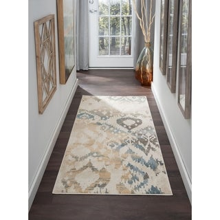 Alise Rugs Windsor Cream Ikat Area Rug (2'7'' x 7'3'')