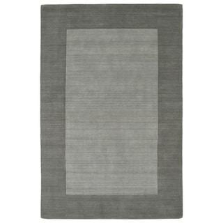 """Borders Grey Hand-Tufted Wool Rug - 9'6"""" x 13'"""