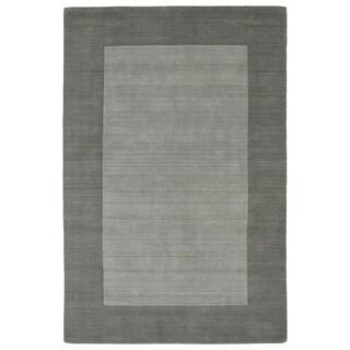 Borders Grey Hand-Tufted Wool Rug (9'6 x 13'0)