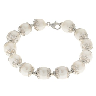 Pearls For You 8-inch Sterling Silver 10.5-11.5 mm Freshwater Pearl and Brilliance Bead Bracelet