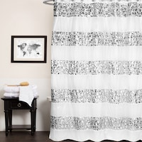Luxury Striped Polyester Shower Curtain and Hooks (Set Or Separates)