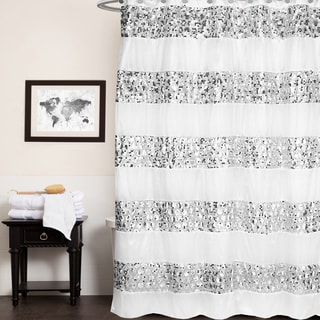 luxury striped polyester shower curtain and hooks set or separates