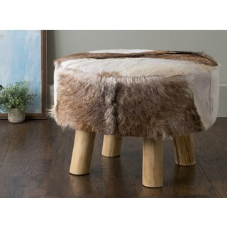 East At Main's Maxwell Brown Round Natural Hide Ottoman