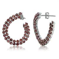 Glitzy Rocks Sterling Silver 2mm African Garnet Open Twist Hoop Earrings
