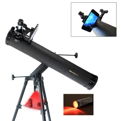 Cassini C-SS80 800mmX80mm Reflector Telescope with Smartphone Adapter - Black