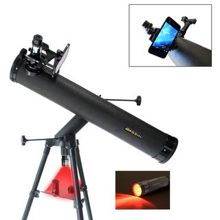 Cassini C-SS80 Electronic Focus 800mm X 80mm Astronomical Reflector Telescope with Smartphone Photo Adapter - Black