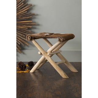 East At Main's Derma Brown Square Natural Hide Stool