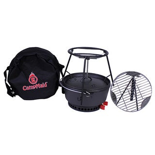 "Campmaid Combo Set 12"" Oven/Lid Lifter/Flip Grill/Charcoal/Wood Holder Heat Source/Kick Stand/Stand"